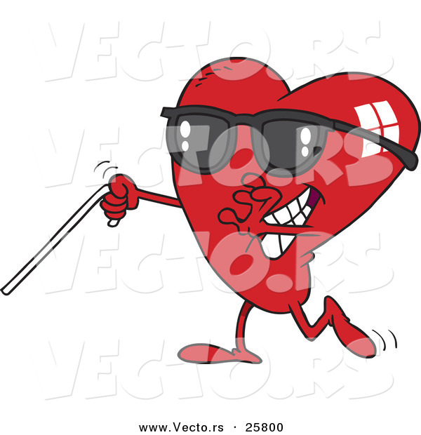 Vector of a Blind Cartoon Love Heart Mascot