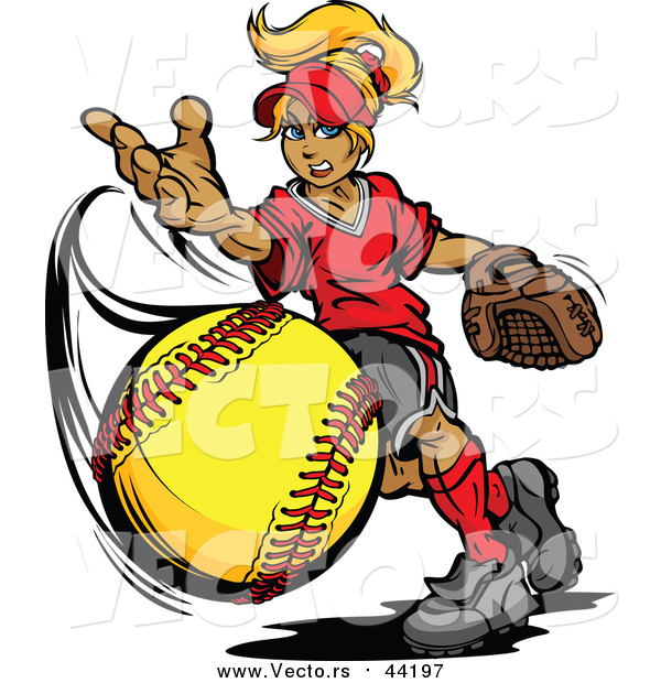 Vector of a Blond Caucasian Tomboy Girl Pitching a Softball
