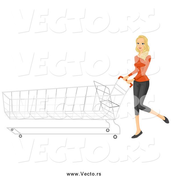 Vector of a Blond White Shopping Woman Pushing a Long Cart
