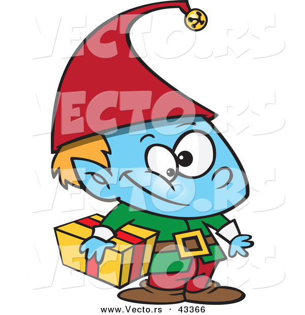 Vector of a Blue Christmas Cartoon Elf Carrying a Wrapped Present