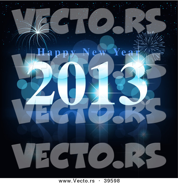 Vector of a Blue Happy New Year 2013 with Fireworks in Background