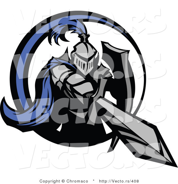Vector of a Blue Knight Stabbing Forward with Double-Edge Sword