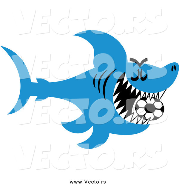 Vector of a Blue Shark Swimming with a Soccer Ball in His Mouth