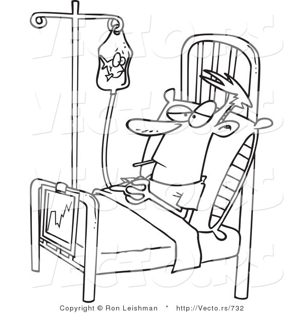 Vector of a Bored Cartoon Patient IV Fluid Bag While Resting in a Hospital Bed - Line Drawing