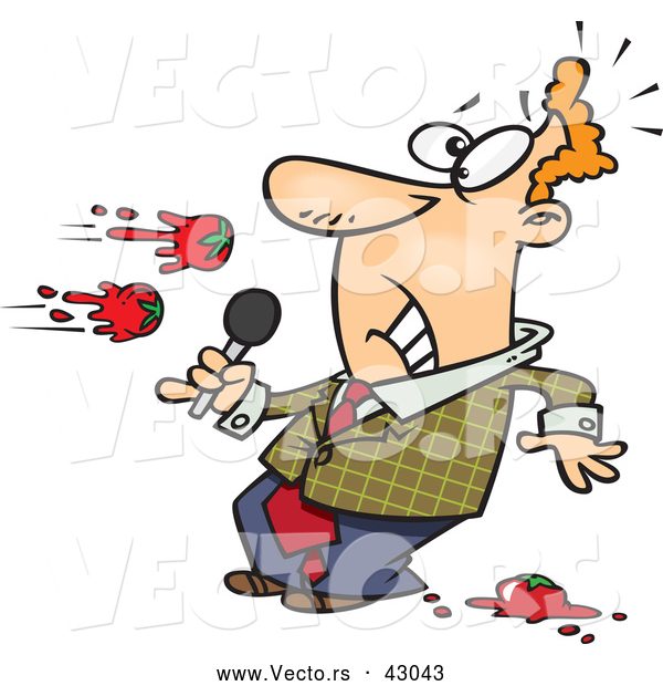 Vector of a Boring Cartoon Male Comedian Getting Tomatoes Thrown at Him on Stage