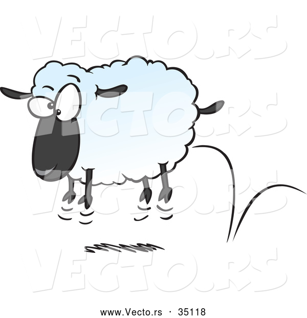 Vector of a Bouncing Cartoon Sheep