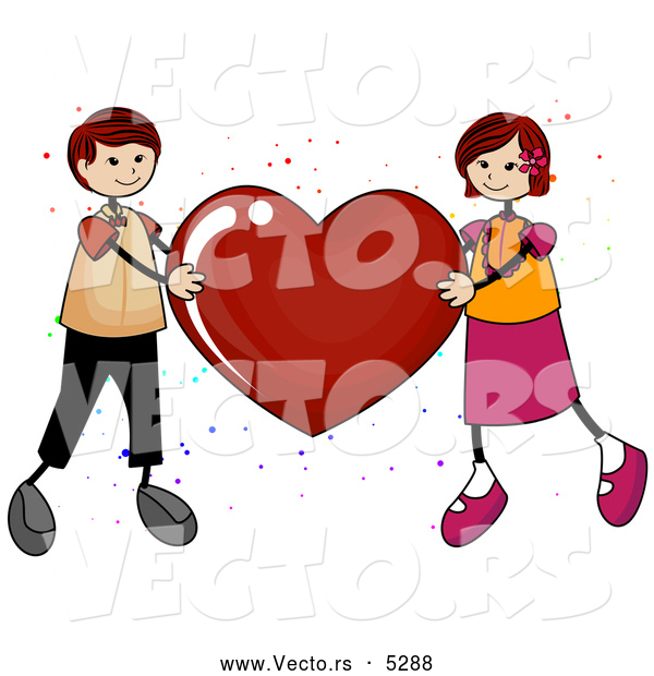 Vector of a Boy and Girl Holding up a Love Red Heart
