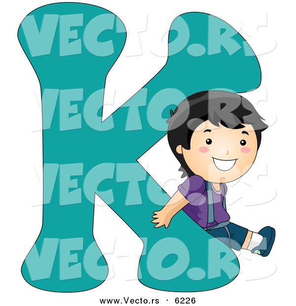 Vector of a Boy Beside Alphabet Letter K