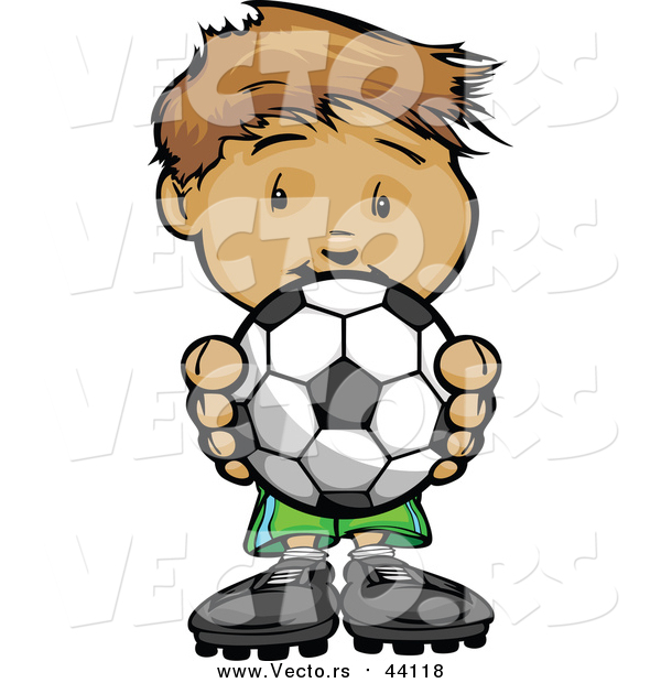 Vector of a Boy Holding Soccer Ball - Cartoon Style