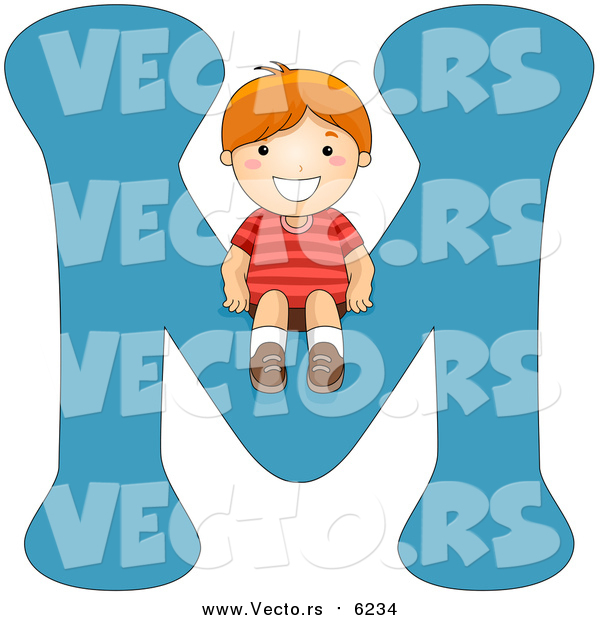 Vector of a Boy Sitting on Alphabet Letter M