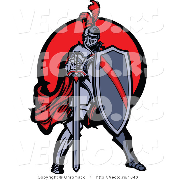 Vector of a Brave Knight Standing with Shield and Sword