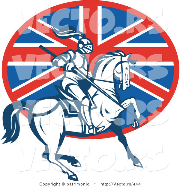 Vector of a British Knight on Horseback with a Lance