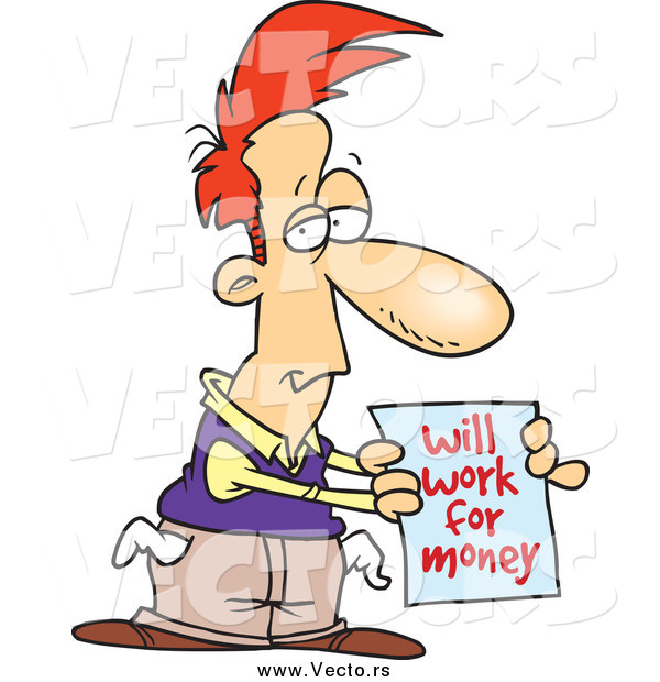 Vector of a Broke Cartoon Red Haired White Man Holding a Will Work for Money Sign
