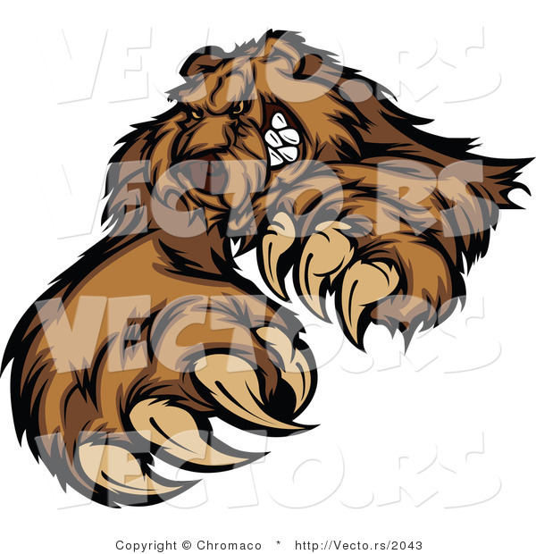 Vector of a Brown Bear Stiking with Claws While Grinning - Coloring Page Outline