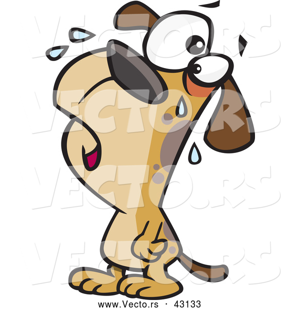 Vector of a Brown Cartoon Dog Crying