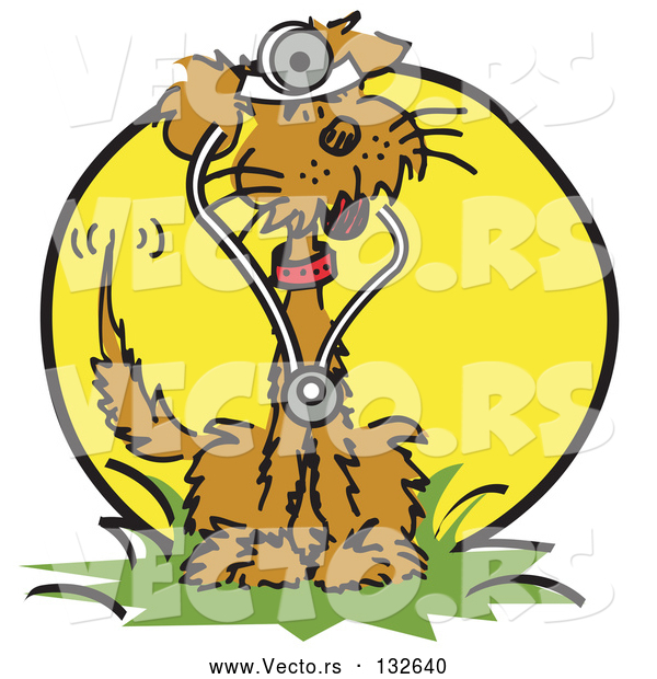 Vector of a Brown Cartoon Dog Sitting in Grass and Wearing a Stethoscope