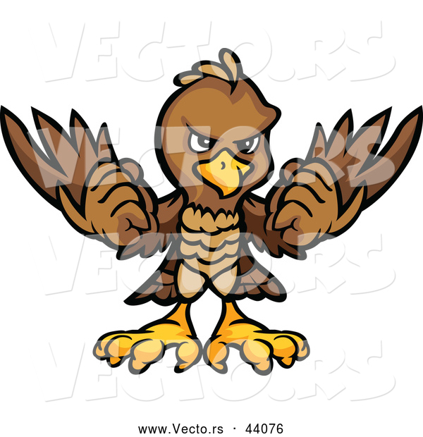 Vector of a Brown Cartoon Eagle Mascot Holding up Its Wings