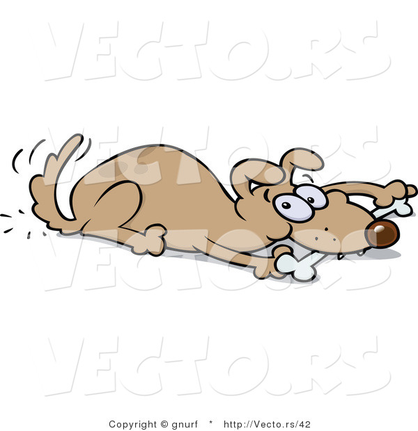 Dog Eating Clipart Vector of a Brown Dog Eating