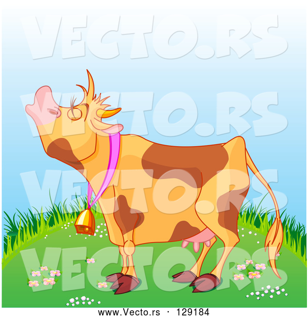 Vector of a Brown Spotted Cartoon Farm Cow Mooing on a Green Grassy Hill