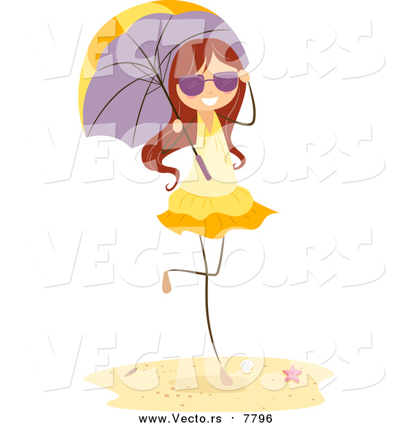 Vector of a Brunette Beach Stick Girl with a Parasol