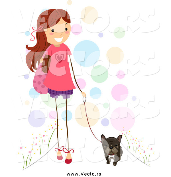 Vector of a Brunette Stick Girl Walking Her Brindle French Bulldog