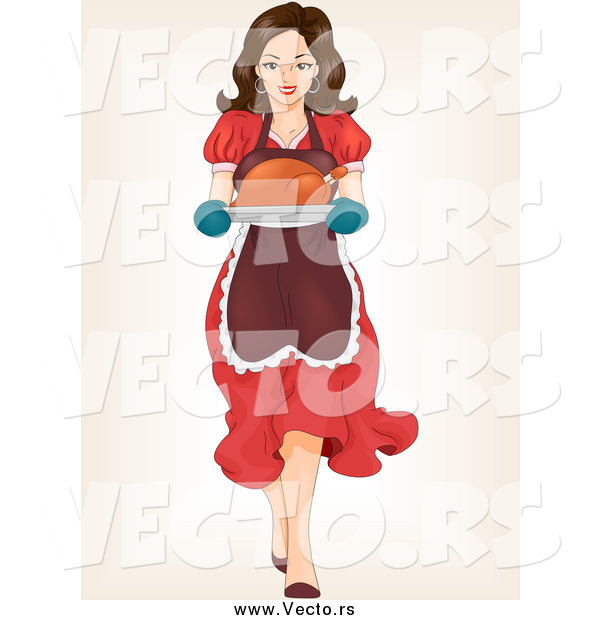 Vector of a Brunette White Woman Carrying a Roasted Turkey