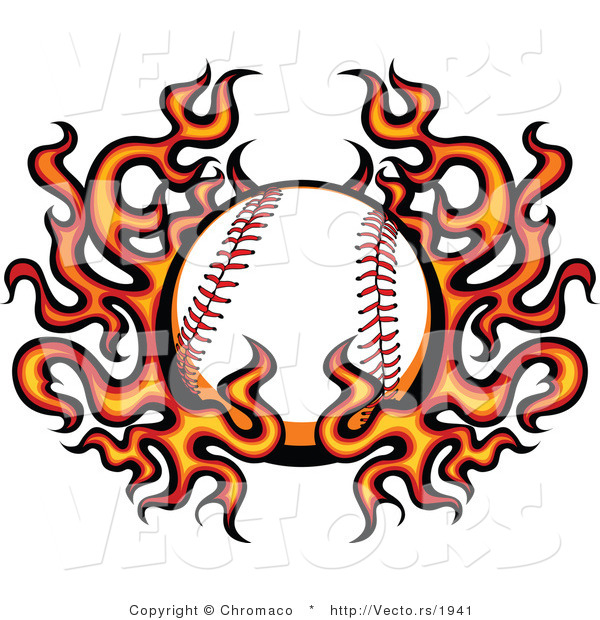 Vector of a Burning Baseball Within Fire and Flames