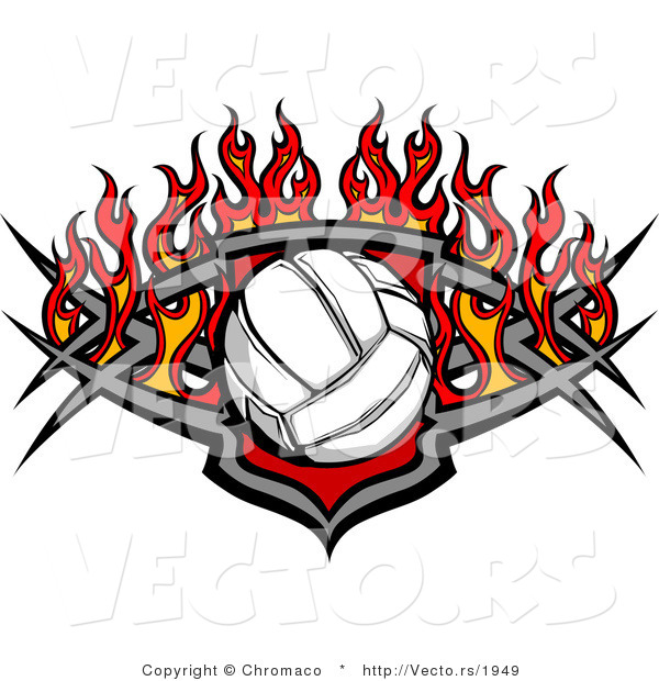 Vector of a Burning Volleyball over Shield Design
