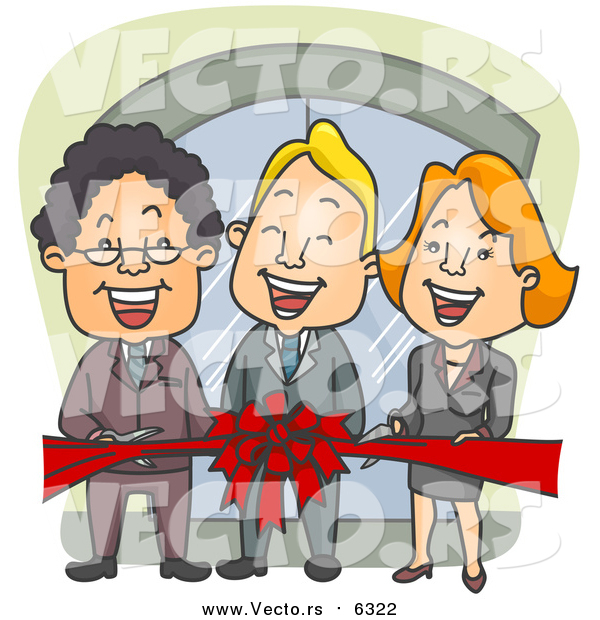 Vector of a Business Team Cutting a Red Ribbon