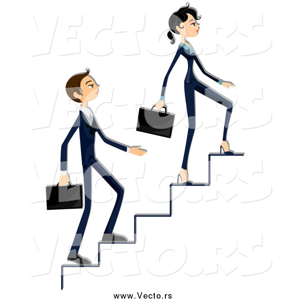 Vector of a Business Woman and Man Climbing up Stairs
