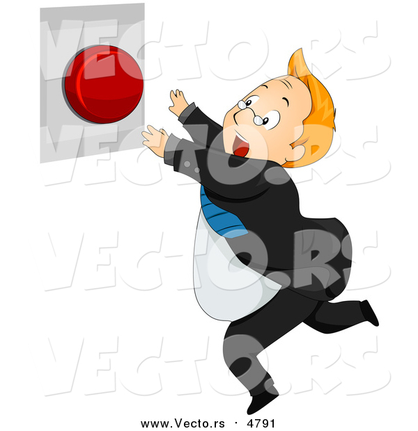 Vector of a Businessman Running to Push a Red Panic Button - Cartoon Style