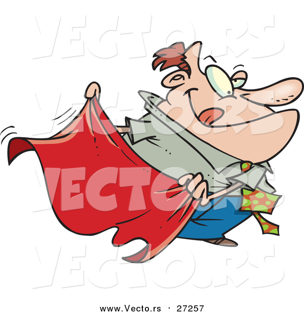 Vector of a Businessman Waving Red Cape - Cartoon Style