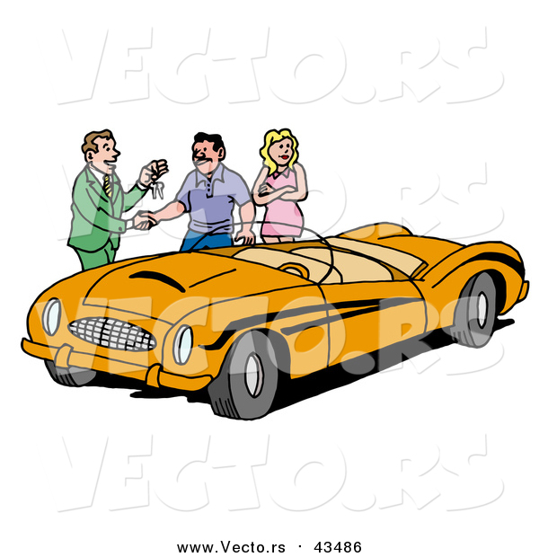 Vector of a Car Sales Man Giving a Customer the Keys to an Orange Classic Convertible Car