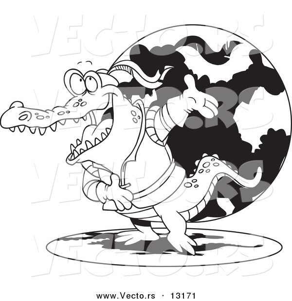 Vector of a Cartoon Actor Crocodile Bowing - Coloring Page Outline