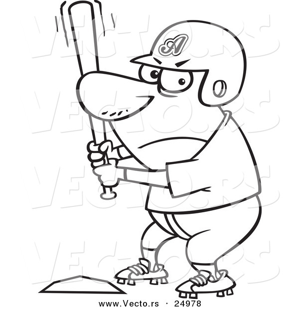 Vector of a Cartoon Aggressive Baseball Player Batting at Home Base - Outlined Coloring Page