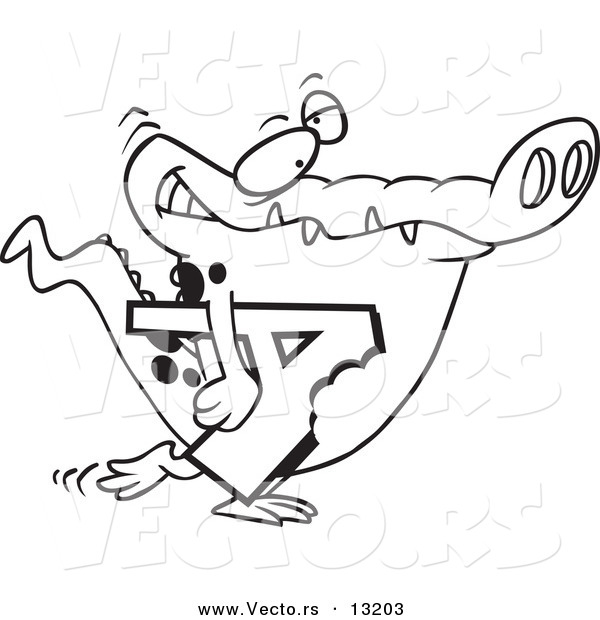 Vector of a Cartoon Alligator Carrying a Bitten Letter a - Coloring Page Outline