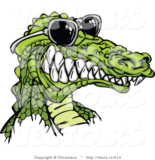 Vector of a Cartoon Alligator Gritting Teeth While Wearing Sunglasses