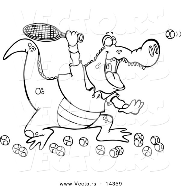 Vector of a Cartoon Alligator Playing Tennis - Coloring Page Outline