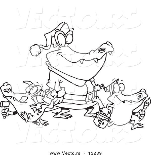 Vector of a Cartoon Alligator Santa with Little Gator Elves - Coloring Page Outline