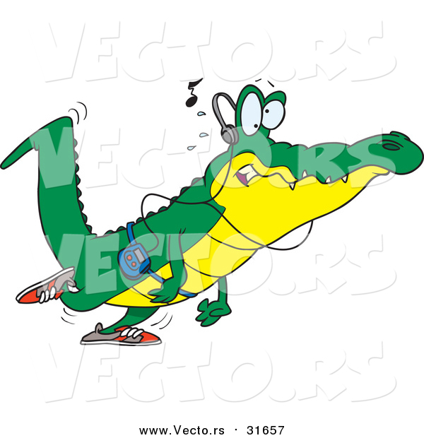 Vector of a Cartoon Alligator Walking and Listening to Music