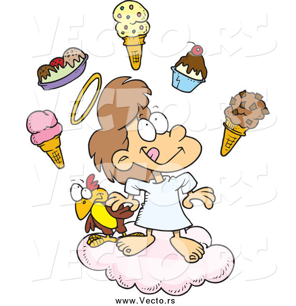 Vector of a Cartoon Angel Girl in Heaven with Ice Cream