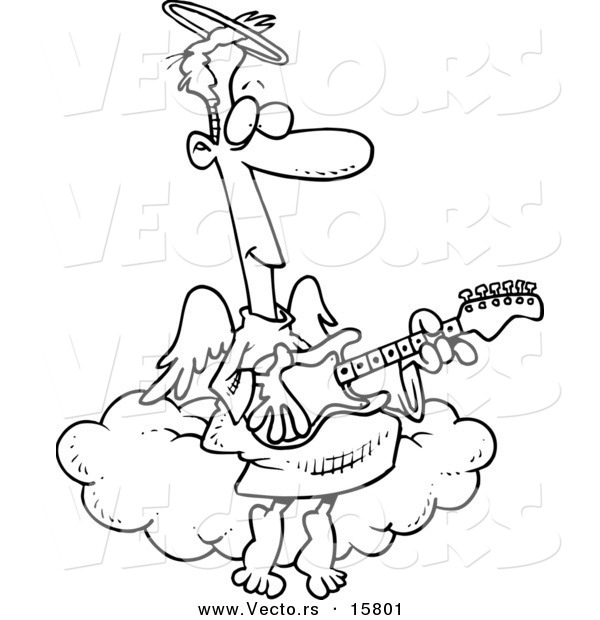 Vector of a Cartoon Angel Man Playing a Guitar - Outlined Coloring Page Drawing