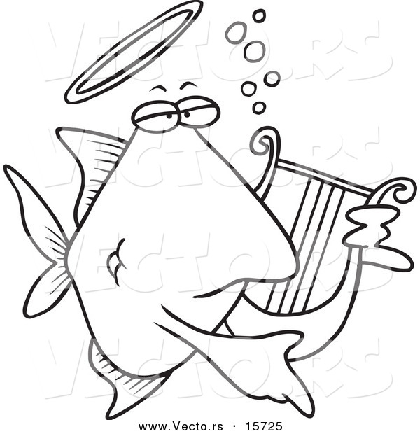 Vector of a Cartoon Angelfish Playing a Lyre - Coloring Page Outline