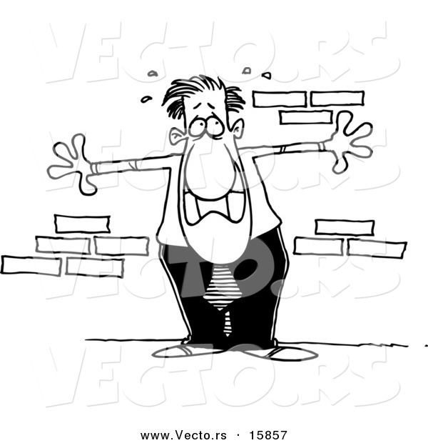 Vector of a Cartoon Anxious Businessman up Against a Wall - Outlined Coloring Page Drawing