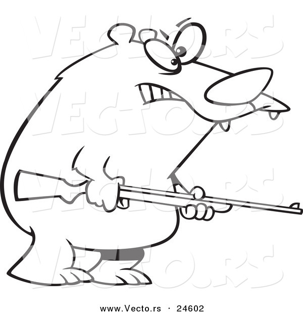 Vector of a Cartoon Armed Bear - Outlined Coloring Page