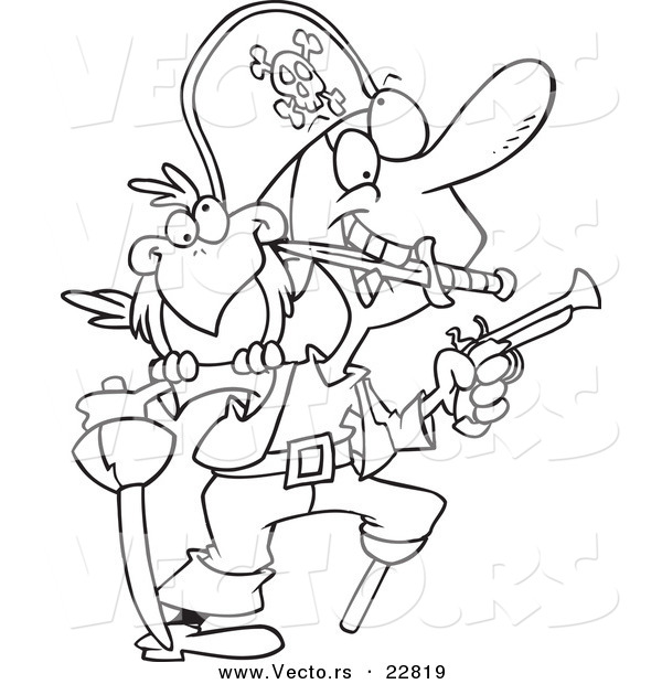 Vector of a Cartoon Armed Pirate - Coloring Page Outline