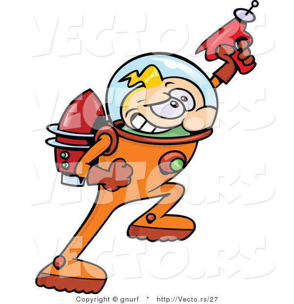 Vector of a Cartoon Astronaut Hero Shooting Super Ray Gun