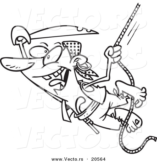 Vector of a Cartoon Attacking Pirate Swinging on a Rope - Coloring Page Outline