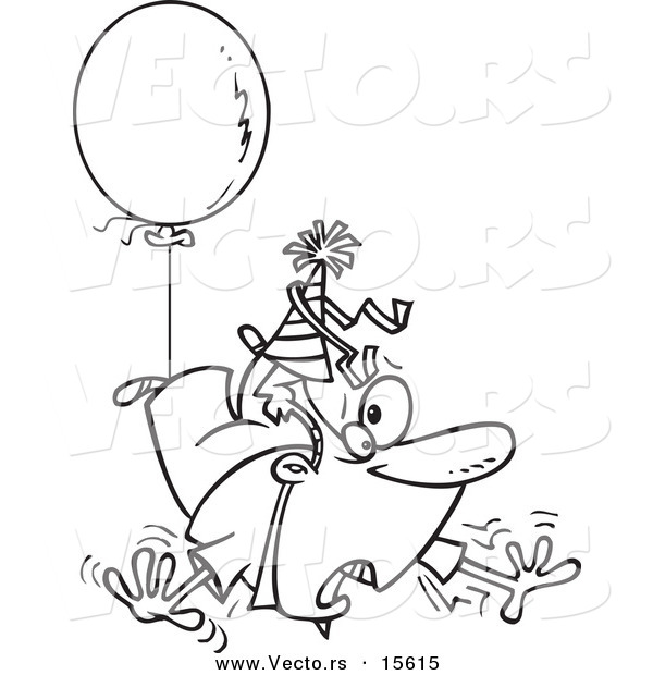 Vector of a Cartoon Awry Man Floating Away with a Party Balloon - Coloring Page Outline