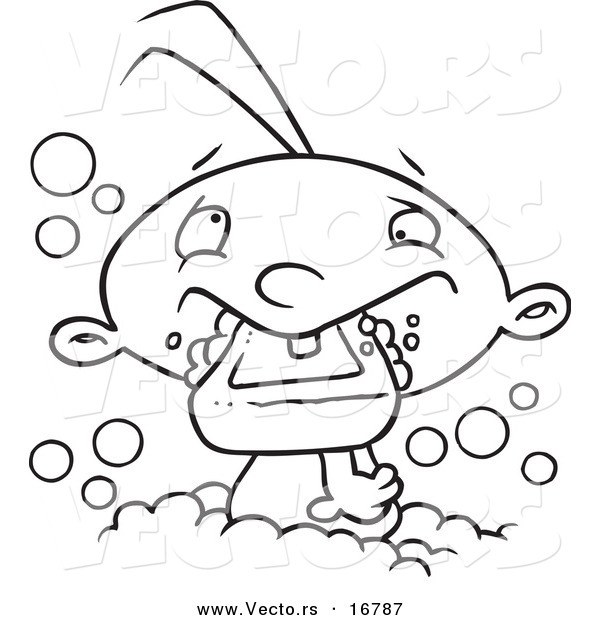 Vector of a Cartoon Baby Boy Eating Soap in the Bath Tub - Coloring Page Outline